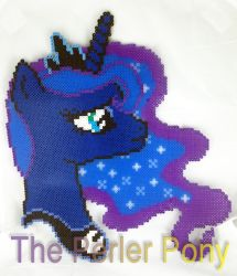 ONE OF A KIND My Little Pony Perler Luna Portrait by Perler-Pony
