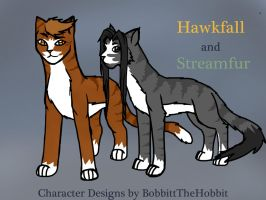 Hawkfall and Streamfur: 1st Place Character Design by ShadowRainLion