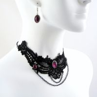 Amethyst Glass Jewelry Set by Lincey