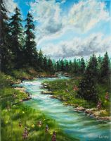 Forest River | Oil Painting by Larisa12345