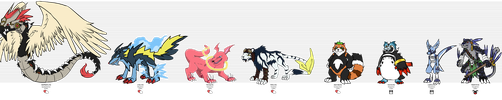 Our Champion Digimon - Size Chart by Cachomon