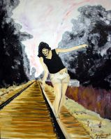 girl on tracks by trippy87oct