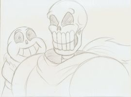 Papyrus and Sans sketch by Robot001