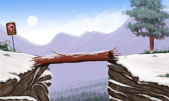 Log Over Chasm by Louisetheanimator