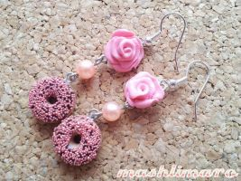 Sugarpearls Donuts with Roses Earrings by mashlimaro