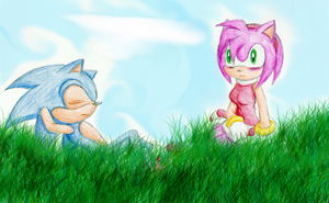 Sonic and Amy -Collab- by Sorata-San