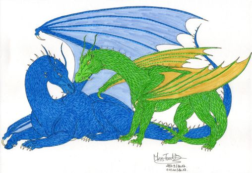 Saphira and Firnen by TurtleClairou