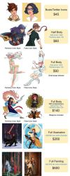 Commission Price Guide by aimeezhou