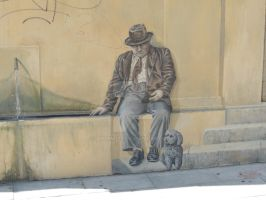 man sitting - wall drawing by amitm123