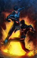 Nightwing v Cerberus by MercyInk87