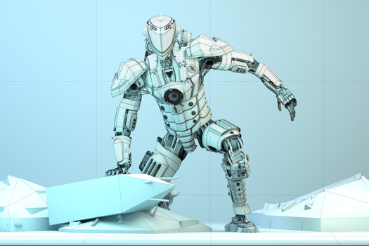 Mech Android Warrior Wireframe Front View 3d by cytherina