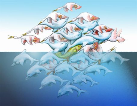 Dolphins + Herons Tessellation by sethness