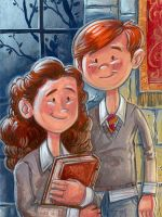 Ron and Hermione by danidraws