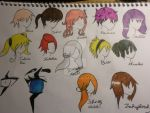 Some Character hairs+eyes and the artist's hair by Zahyebah