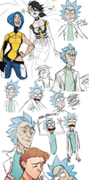 rick + morty sketchdump by sheax-b