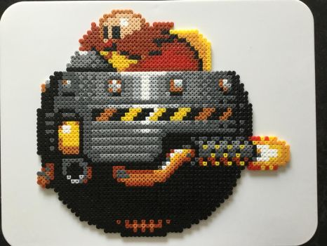 Request: Dr Eggman in Egg Mobile- Hama Bead Art by Dogtorwho