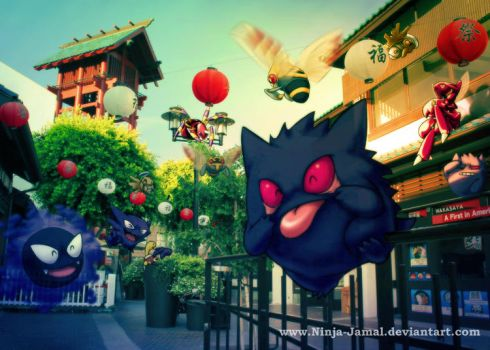 Gengar gang and Bug POkemon in little Toyko by Ninja-Jamal