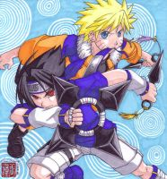 Sasuke and Naruto - commission by songosai