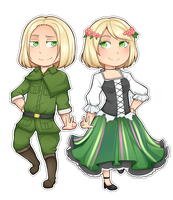 Poland and Nyo!Poland Chibi by Annington