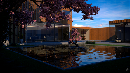 Modern House with pond at daylight by kn51