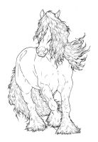 Gypsy Vanner LineArt by ReQuay