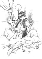 Cleopatra on the couch by UZOMISTUDIO