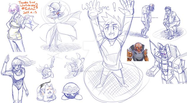 4-13-17 Stream Sketch dump by ScarletReisen