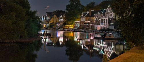 Boathouse Row from the canal by crestmultimeadia