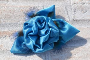 Blue rose and peacock feather brooch (available) by TheBohoCraftsShoppe