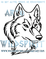 Wolf Head Tribal Design Commission by WildSpiritWolf