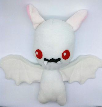 Cute White Vampire Bat Plush by Gemlettuce