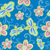 Seamless Flower And Dragonfly Print 4 by DonCabanza