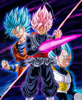 Goku y Vegeta Vs Black Ssj Rose by NARUTO999-BY-ROKER