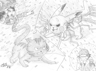 Pepper/Carrot vs Red/Pikachu by Nartance