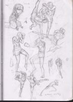 Sketches : Muay Thai Studies and Abilio pouting by Betterifimdeath
