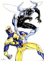 DND Paris : Blue Beetle and Booster Gold by emalterre