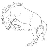 Bucking Horse Lineart by Kholran