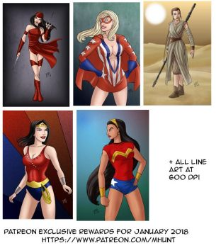 Patreon exclusive rewards for January 2018 by mhunt