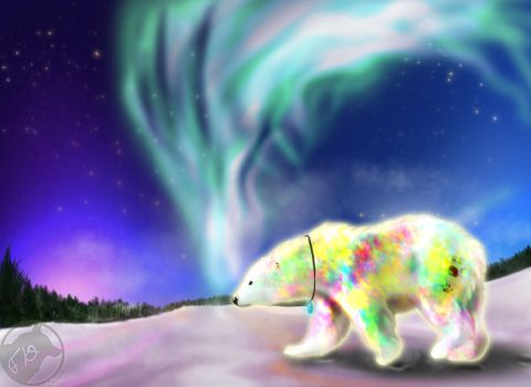 Opal and the northern lights by CheezayBallz