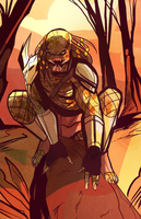 Predator crouching w/ background COLORS by squarerootofdestiny