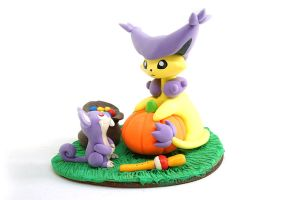 Halloween Delcatty and Rattata by Ailinn-Lein