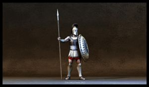 Greek hoplite (low poly) by haloband