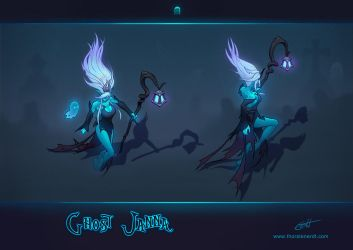 LoL skin concept: Ghost Janna by Shockowaffel