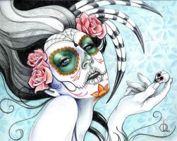 Day of the Dead Sugar Skull Girl by mystiqueink