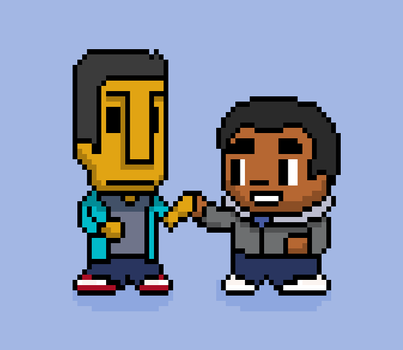 Pixel Troy and Pixel Abed! by luvpunkie