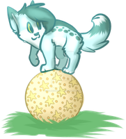 Bonny balancing on a ball by SolarXolverite