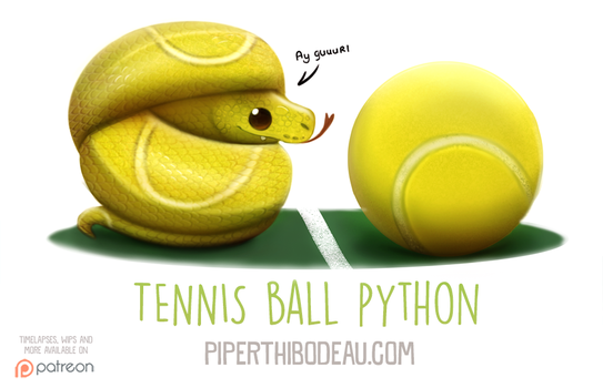 Daily Paint 1594. Tennis Ball Python by Cryptid-Creations