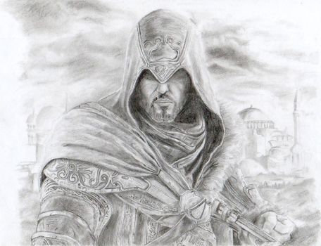 Ezio Revelations (pencil drawing) by YamiMidna