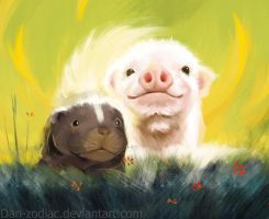 DAILY PAINT : Mister Piggy and Mister Skunky  #65 by Dan-zodiac