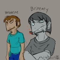 Herobrine and Brineary differences [quickdraw] by Dierinks